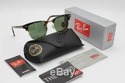 51mm Ray-Ban clubmaster sunglasses men women green medium brown havana 3016 new