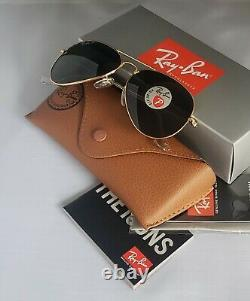 Authentic Ray-Ban Aviator Gold Frame Green Polarized RB 3025 001/58 58mm