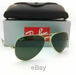 Authentic Ray Ban Aviator-RB3025 Gold-001/58(SMALL)-55MM-WithGreen Lens-Polarized