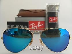 Authentic Ray-ban Aviator Rb3025 112/17 58mm Blue Mirror Lens Gold Sunglasses