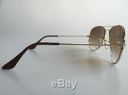 Authentic Rayban Aviator Rb3025 001/51 58mm Brown Gradient Lens Gold Sunglasses