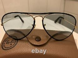 B&L RAY-BAN LARGE METAL LEATHERS 5814 Changeable Blue Aviator Bausch&Lomb USA