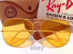 B&L RAY BAN USA AVIATOR 62mm AMBERMATIC CHANGEABLES YELLOW VINTAGE GENERAL CASE