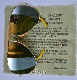 B&L RAY BAN USA SUNGLASSES 12K GF OUTDOORSMN Top Mirrored Green lenses 58mm EXL
