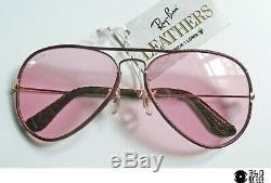 B&L Ray-Ban USA Aviator Burgundy Leathers occhiali da sole vintage 1980's