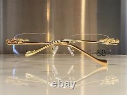 Braglia Rimless Gold Vintage Metal Iced Lion Jaguar Panther Glasses Sunglasses