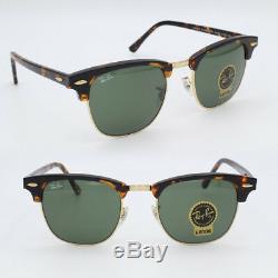 Clubmaster ray-ban new sunglasses for men, women green G-15 havana RB3016 51mm