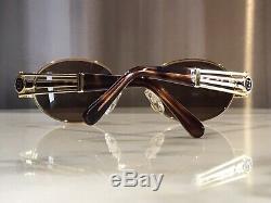 Fendi Vintage FS148 Gold Sunglasses Glasses Frames Mod Metal Wire Wood Horn