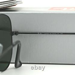 NEW AUTHENTIC RayBan Sunglasses 55mm Ray-Ban AVIATOR Black Frame/ Green Classic