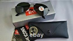 NEW Authentic Ray-Ban Aviator 3025 Black Frame Polarized RB 3025 002/58 58mm