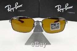 NEW RAY BAN TECH RB 8308 004 Carbon Fiber/Gunmetal Brown lens Sunglasses