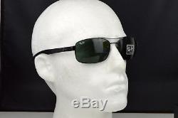 bab760001c NEW RAY BAN TECH RB 8316 002 Carbon Fiber Gunmetal G15 Green lens Sunglasses