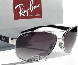 724f2e9af57 NEW Ray Ban AVIATOR 63mm Silver w Black with Grey Lens Sunglasses RB3386 003  8g
