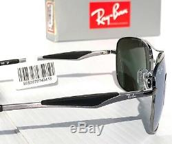 NEW Ray Ban AVIATOR Squared Satin w POLARIZED Silver Sunglass RB 3515 004/Y4