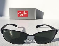 NEW Ray Ban Black Polished w Green Grey Lens Sunglass RB 3364 002 $180