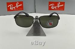 NEW Ray-Ban Gunmetal Green Polarized RB3529 004/9A Sunglasses 61mm