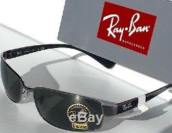 NEW Ray Ban Gunmetal Silver w Green G-15 Lens Sunglass RB 3364 004 $180