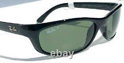 NEW Ray Ban PREDATOR Black wrap sport w POLARIZED Green Sunglass RB 4115 601/9a
