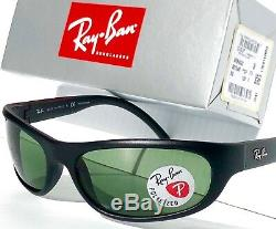 NEW Ray Ban Sport wrap Matte Black w POLARIZED Green Lens Sunglass RB 4033