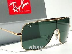 NEW Ray Ban Wings 2 Gold Aviator Shield G-15 Green Sunglass RB 3697 9050/71