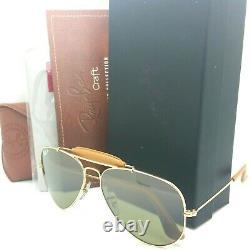 NEW Rayban Aviator Craft Leather sunglasses RB3422Q 001/M9 58mm Green Gradient