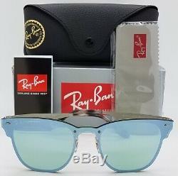 NEW Rayban Blaze Clubmaster Sunglasses RB3576N 042/30 47mm Silver Dark Green NIB
