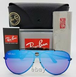 NEW Rayban Blaze Shooter Sunglasses RB3581N 153/7V 32 Violet Blue Mirror GENUINE