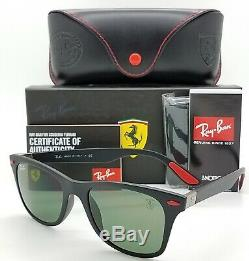 NEW Rayban Ferrari Wayfarer sunglasses RB4195MF F60271 52 Black Green AUTHENTIC
