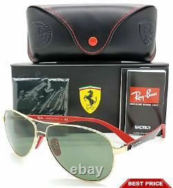 NEW Rayban Ferrari sunglasses RB8313M F00871 Gold G15 Aviator Carbon F AUTHENTIC