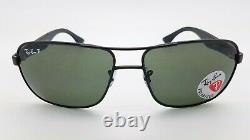 NEW Rayban Metal Sunglasses RB3516 006/9A 59mm Matte Black Grey Green Polarized