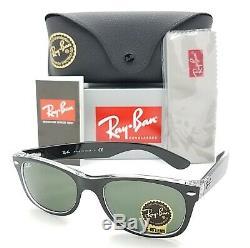 NEW Rayban New Wayfarer sunglasses RB2132 6052 52mm Black Clear G15 AUTHENTIC