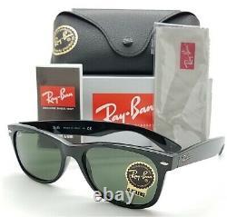 NEW Rayban New Wayfarer sunglasses RB2132 901L 55mm Black G15 Green AUTHENTIC
