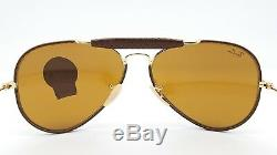 NEW Rayban Outdoorsman Leather Craft Aviator RB3422Q 9041 58 Gold Brown RB 3422Q