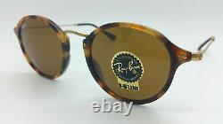 NEW Rayban Round Fleck Sunglasses RB2447 1160 49mm Classic Brown B15 AUTHENTIC
