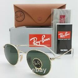 NEW Rayban Sunglasses RB3447 001 50mm Metal Round Gold Green G-15 AUTHENTIC