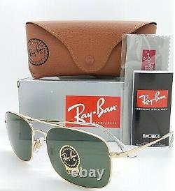 NEW Rayban Sunglasses RB3611 001/31 60 Gold Green Classic G15 AUTHENTIC aviator