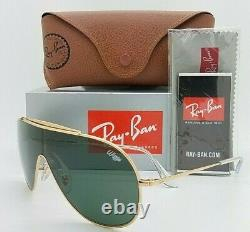 NEW Rayban WINGS sunglasses RB3597 905071 33mm Gold Green Classic Shield GENUINE