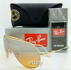 NEW Rayban WINGS sunglasses RB3597 9050Y1 33mm Gold Orange Silver Mirror Shield