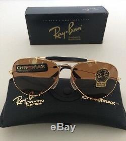 NEW VINTAGE RAY BAN B&L AVIATOR CHROMAX W1663 ARISTA/GOLD Driving SUNGLASSES