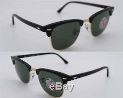 New Authenti Ray-Ban Clubmaster RB 3016 901/58 Black Frame Green Polarized 51mm