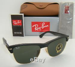 New Authentic Ray-Ban Clubmaster Oversized RB 4175 877 57mm Black / Green G-15