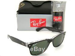 New Authentic Ray-ban New Wayfarer Rb 2132 6052/58 52mm Black / Green Polarizedd