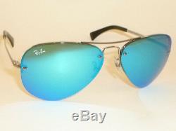 New RAY BAN Aviator Sunglasses Gunmetal Frame RB 3449 004/55 Blue Mirror Lenses