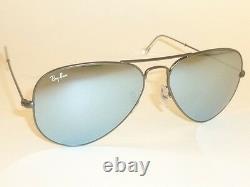New RAY BAN Aviator Sunglasses Matte Gunmetal RB 3025 029/30 Silver Mirror 55mm