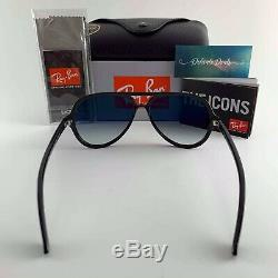 New RAY-BAN Cats 5000 RB 4125 601/32 Polished Black withGray Gradient 59 mm