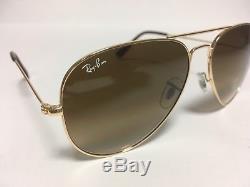 New RAY BAN Sunglasses 3025 001 51 Aviator Gold Ray-Ban 58mm Metal RayBan Brown