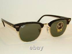New RAY BAN Sunglasses Black CLUBMASTER RB 3016F W0365 G-15 Glass Lenses 55mm