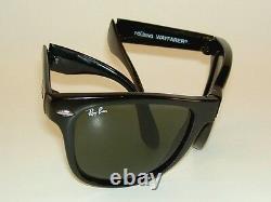 New RAY BAN Sunglasses Black FOLDING WAYFARER RB 4105 601 G-15 Glass 54mm Large