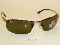 New RAY BAN Sunglasses Gunmetal Frame RB 3183 004/9A POLARIZED Gray/Green Lens