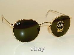 New RAY BAN Sunglasses ROUND METAL RB 3447 001 Gold Frame G-15 Glass Lenses 47mm